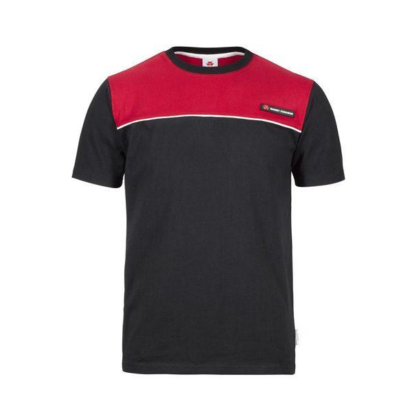 T-Shirt schwarz rot kurzarm von MF