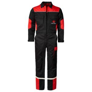 BLACK AND RED OVERALL WITH DOUBLE ZIP